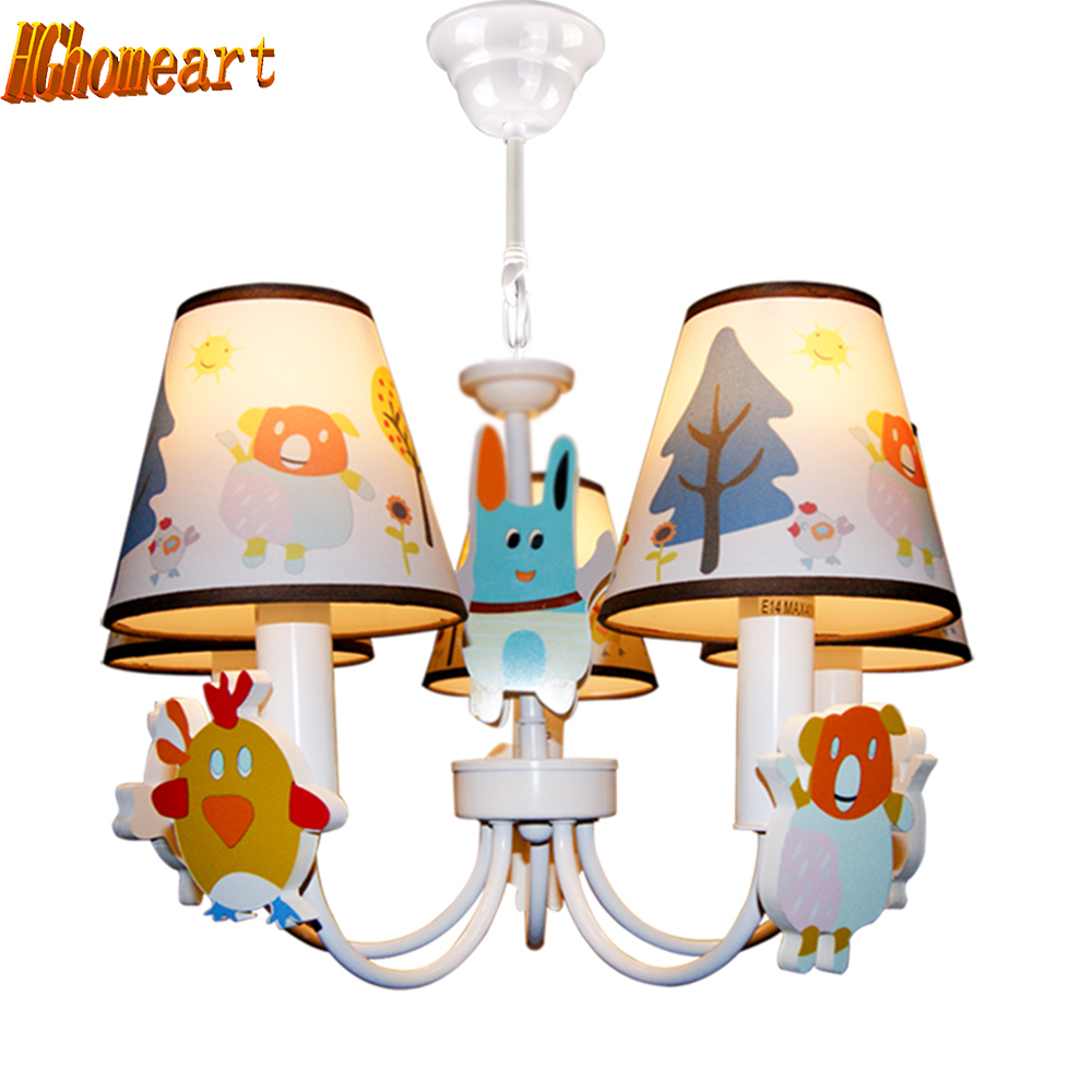 Hghomeart Cartoon Pink Led Chandelier Lamp E14 Light Bulb110V220V Home Lighting Kids Room Suspension Chandeliers for The Bedroom
