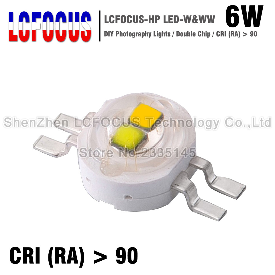 20pc High Power LED Double 6W Chip 3W White Warm White 45mil COB Light Beads 6
