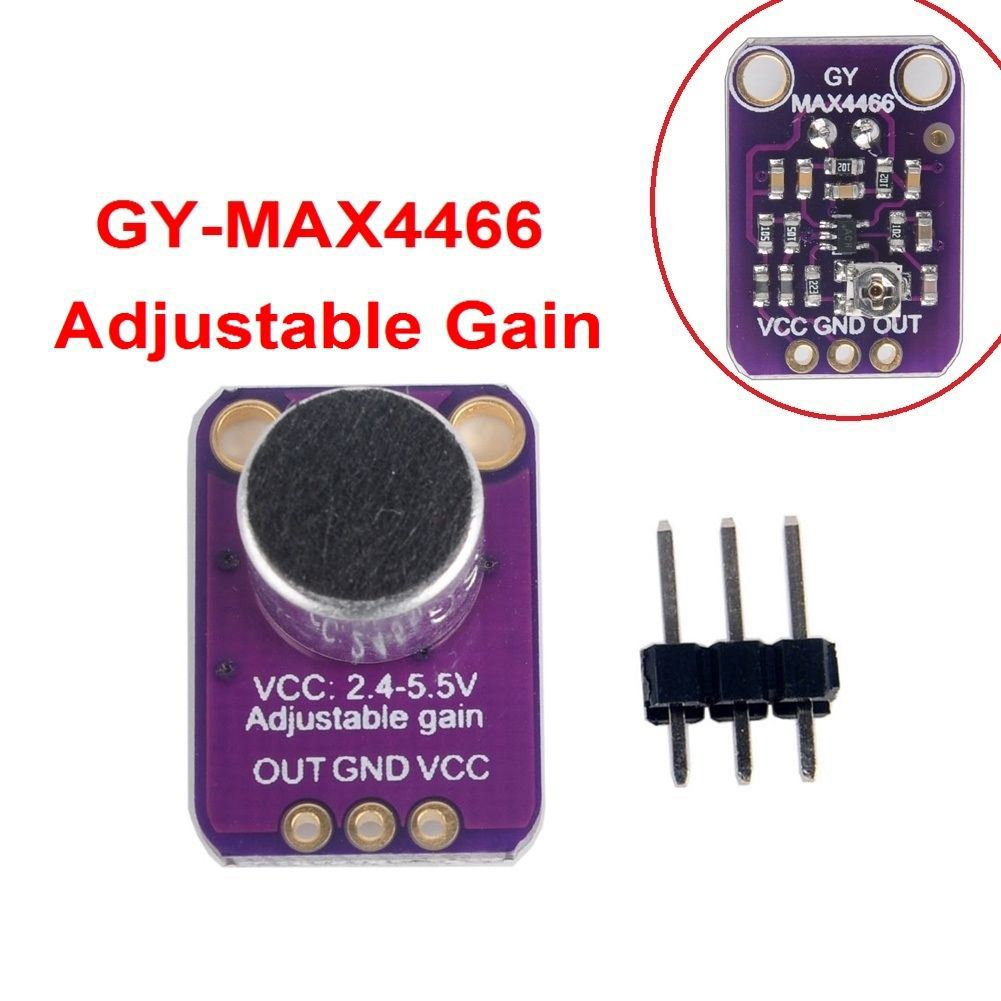 GY-MAX4466 MAX4466 Electret Microphone Amplifier Module Adjustable Gain OUT GND Amplifier Board 2.4-5V DC For Arduino