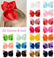 "20Pcs 8"" Hair Bows Clips Boutique Grosgrain Ribbon Big Large Bowknot Pinwheel Headbands For Baby Girls Teens Toddlers Kids(China)"