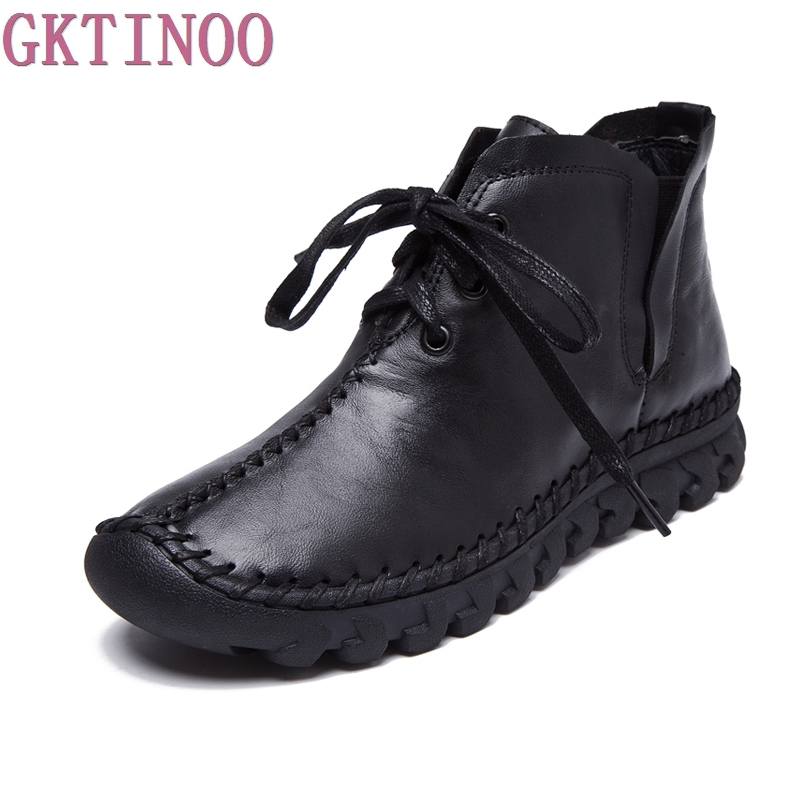 GKTINOO Women Boots 2020 New Leather Winter Boots Handmade Lace-up Woman Shoes Casual Genuine Leather Ankle Boots For Women