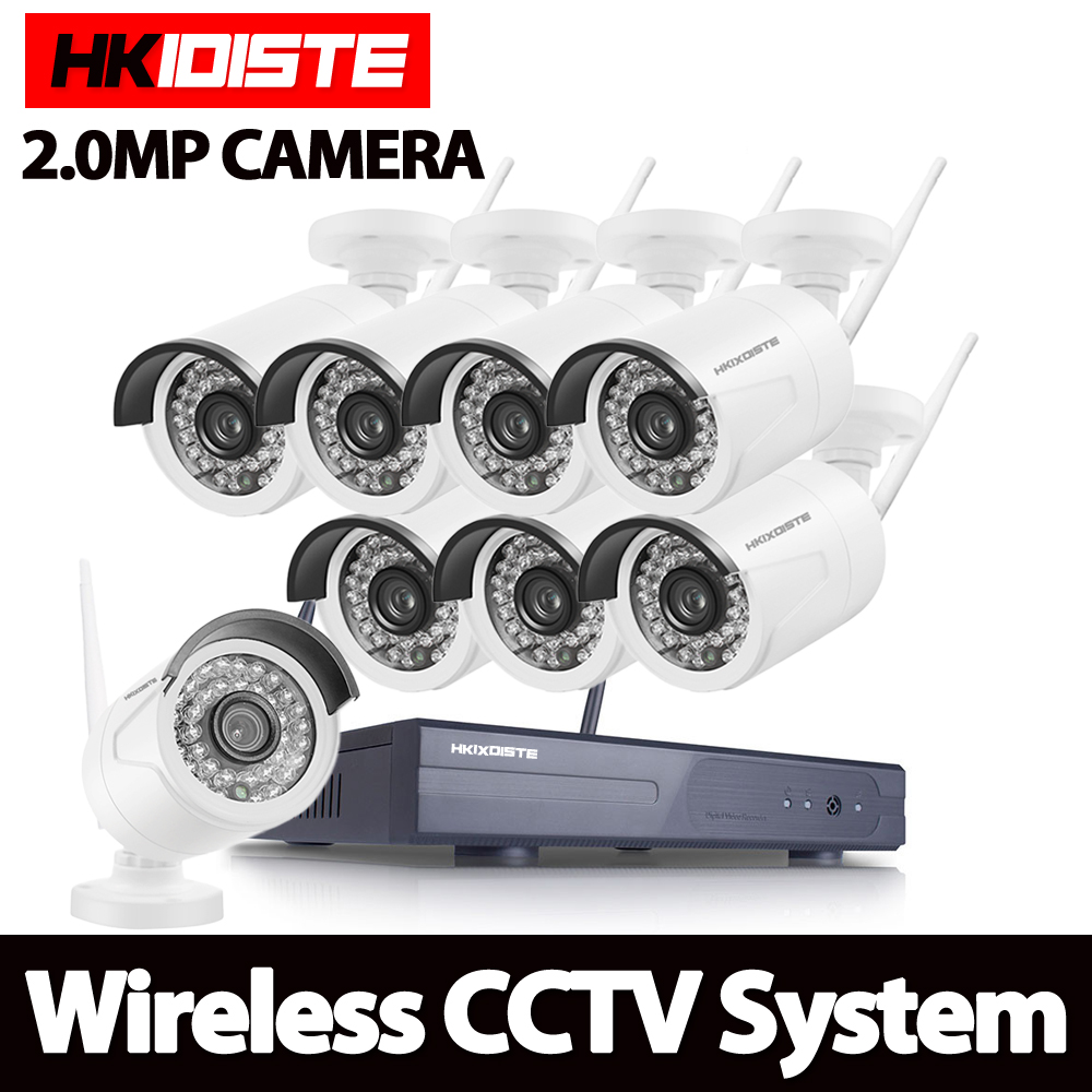 HD 2MP CCTV System 8ch 1080P Wireless NVR kit Outdoor IR Night Vision IP Wifi Camera Security System Surveillance HKIXDISTE 720p full hd h 264 waterproof outdoor ir night vision ip camera wifi security cctv system 8ch wireless nvr surveillance kit