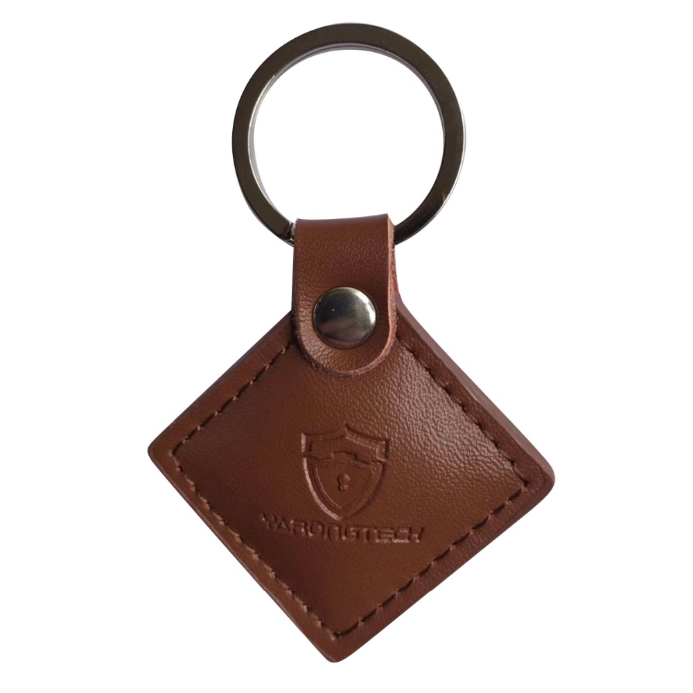 13.56mhz HF ISO14443A Brown Color Leather RFID MIFARE Classic 1K Keyfob -2pcs