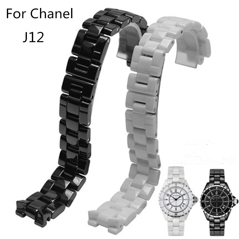 Hot Sale Ceramic 19mm 16mm Watchband Black White Watch Accessories Men Women Lovers Bracelet For ChanelStrap J12 hot sale ceramic 14mm 16mm 18mm 19mm 20mm 22mm black white watchband men women bracelet for women dress new general watch strap