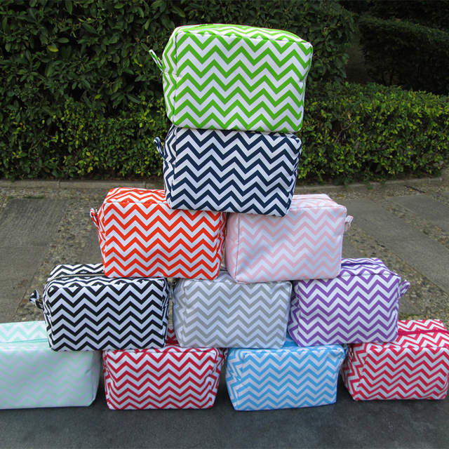 02f7fb128893 Wholesale Blanks Chevron Cosmetic Bags Zig Zag Makeup Bag Toiletry Bags  with Various Colors with Free Shipping DOM103001