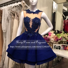 Real Sample Beaded Appliques Sexy See Through Top A-line Short Prom Dresses 2017 In Navy Blue