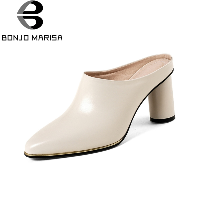 BONJOMARISA 2018 Summer Brand Cow Leather Women Mules Leather Insole High Heels Pumps Fashion Hot Sale Casual Shoes Woman bonjomarisa 2018 summer brand sexy women mules print patent leather pumps crystal high heels party wedding shoes woman