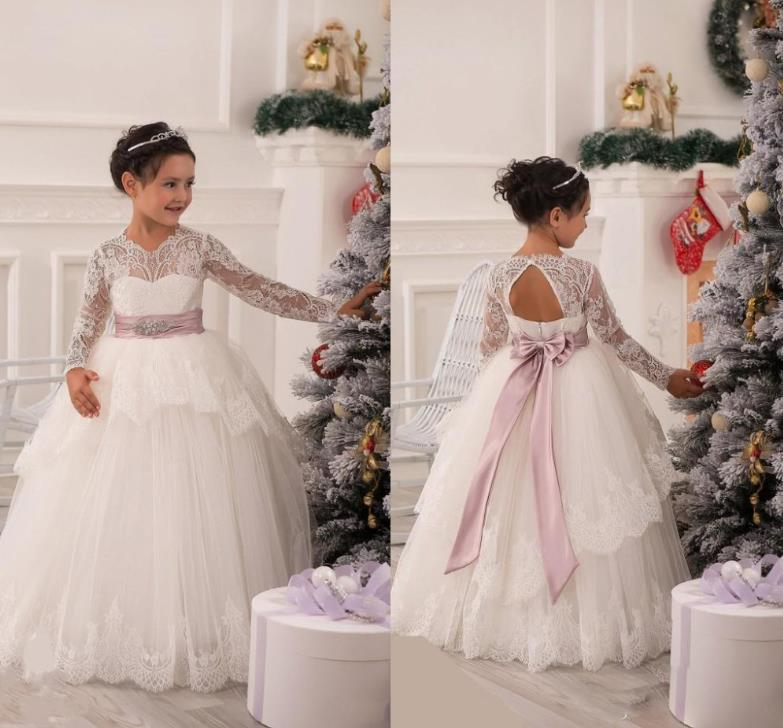 54f3d23935c8 White Tulle Ball Gown Flower Girl Dresses Long Sleeves Lace Applique Bow  Ribbons Beading Tiered Hemline Kids Wedding Party Dress
