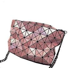 Edgy Geometric Plaid Chain Bag Fashion Rhombic Chequer Shoulder Bag Women Crossbody Bag Stylish Ladies Designer