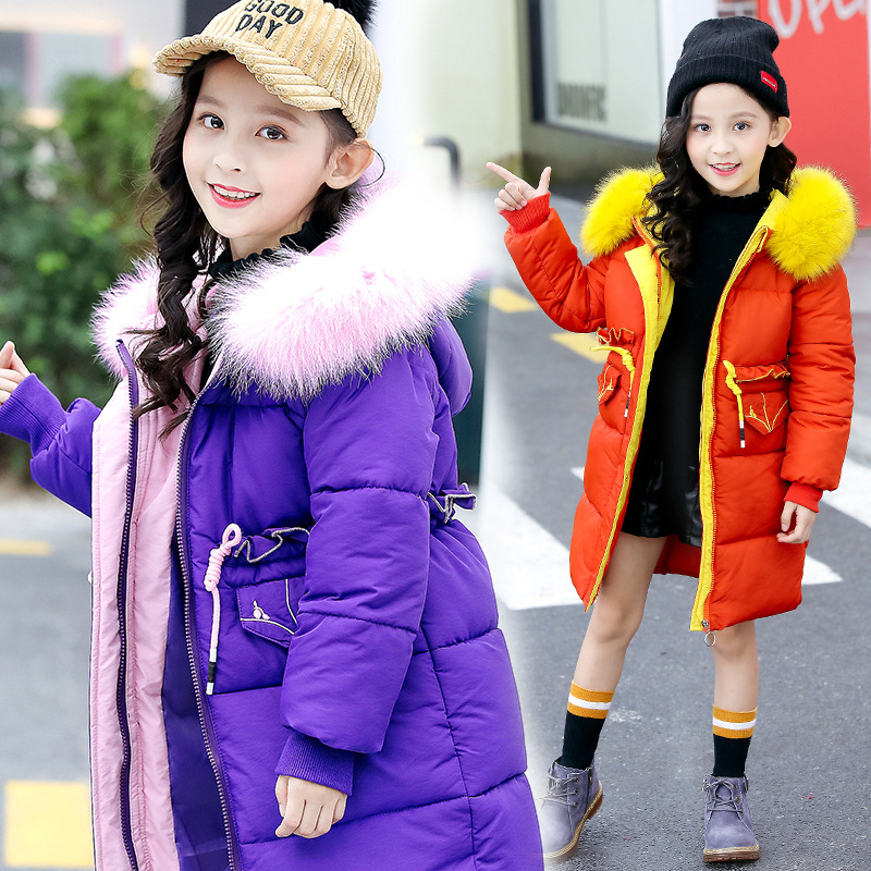 Kids winter jacket children's hooded fur collar cotton clothes new girls cotton coat long thick cotton jacket girls winter coats winter jacket female parkas hooded fur collar long down cotton jacket thicken warm cotton padded women coat plus size 3xl k450