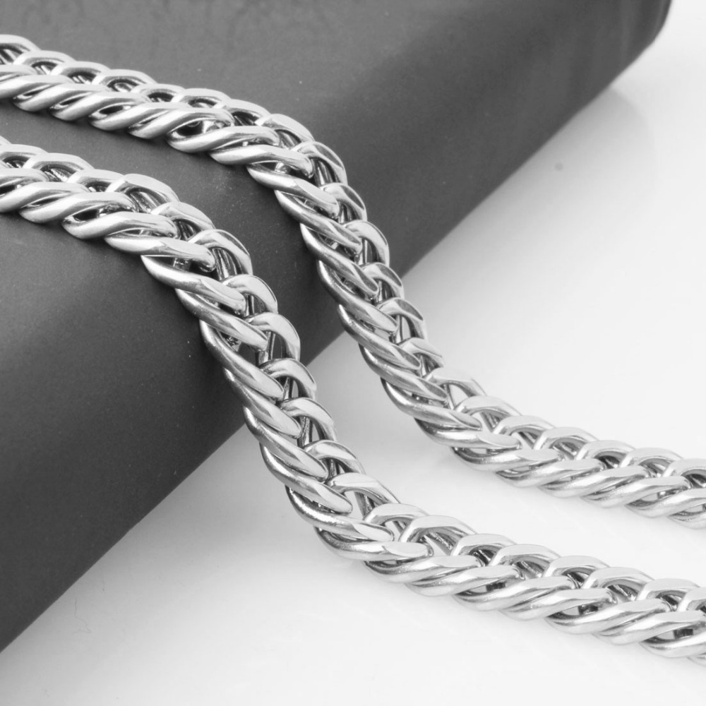 8mm Wide Necklace Or Bracelet Stainless Steel Curb Link Chain Jewelry For Men Male Silver Color Jewelry 7-40 Inches Free Choose
