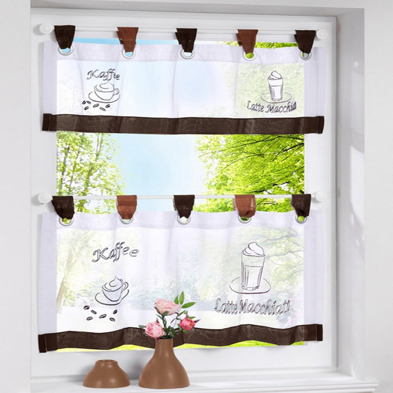 Urijk 1PC Coffee Color Half Curtain For The Kitchen Cabinet Window Valance  Curtains Short Pastoral Style Small Cafe Curtain