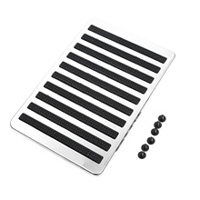 Universal Car Floor Carpet Mat Patch Foot Heel Plate Pedal Pad Non-slip Stainless Steel +Rubber 23.5X16cm