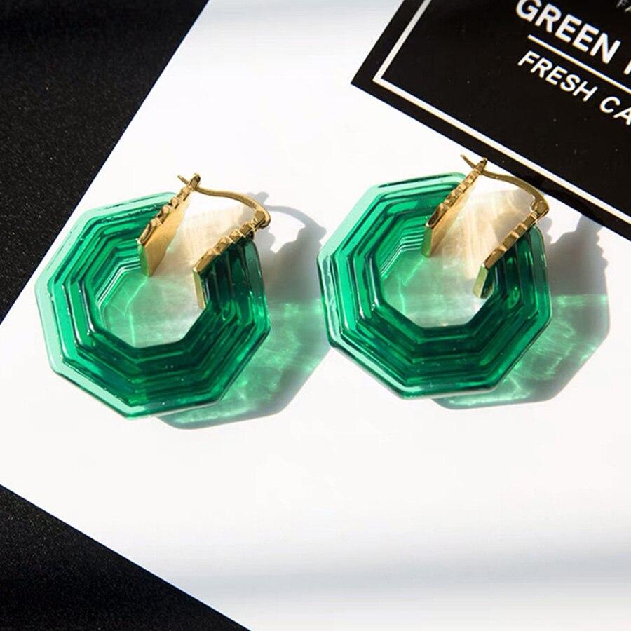 Paris Designer Fancy Green White Acrylic Gold Earrings For Women Luxury Brand Jewelry High Fashion Hoop Earring Crystal BijouxParis Designer Fancy Green White Acrylic Gold Earrings For Women Luxury Brand Jewelry High Fashion Hoop Earring Crystal Bijoux