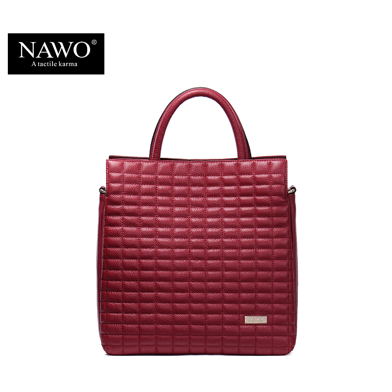 NAWO Small Genuine Leather Bags For Women Designer Tote Bag Diamond Lattice Bags And Purses Zipper Shoulder Bags Handbags Brand