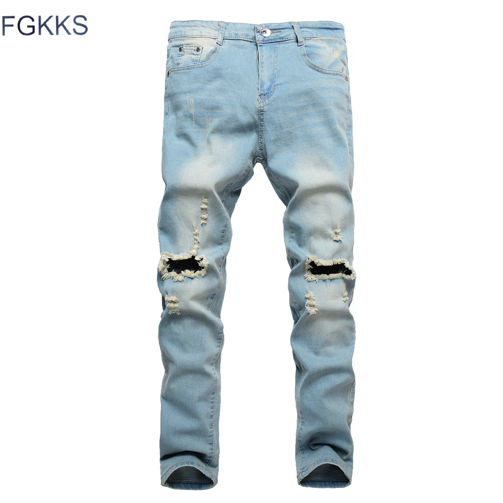 FGKKS 2018 Ripped Jeans for Men Patchwork Hollow Out Printed Beggar Cropped Pants Yong Man Cowboys Japan Style Trendy Hombre