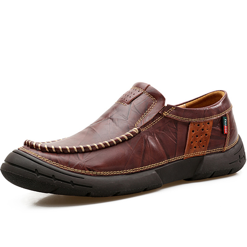 2017 Toe protection Handmade Leather Zapatos Men Flats Driving Soft Leather Men Moccasins Brand Men Shoes Loafers Slip On Shoe hot high quality men loafers leather round toe slip on casual shoes man flats driving shoes hombre zapatos comfortable moccasins
