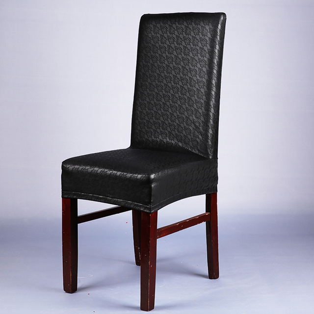 office chair seat covers black cover rentals hartford ct leather pu elastic lace for weddings banquet home hotel dining v20