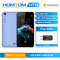 Global Version HOMTOM HT16 Smartphone Android 6.0 Quad Core MTK6580 5.0 Inch Full Screen Dual Cameras Smart Gestures Cell Phone