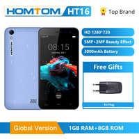 Wersja globalna HOMTOM HT16 smartfon Android 6.0 Quad Core MTK6580 5.0 Cal pełny ekran podwójne kamery inteligentne gesty, telefon komórkowy