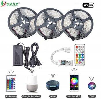 цена на 5m 10m 15m SMD 2835 DC 12V Flexible WiFi RGB LED Strip Light 5M 300leds LED Tape Ribbon Colorful Rope String For Home Decoration