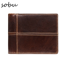 Фотография new cow genuine leather men wallets fashion splice purse dollar price carteira masculina original brand V055