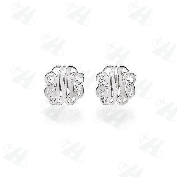 Custom Monogram Initial Stud Earrings Brand Silver Color Earring Personalized Name Fashion Jewelry Penntes Mujer Moda