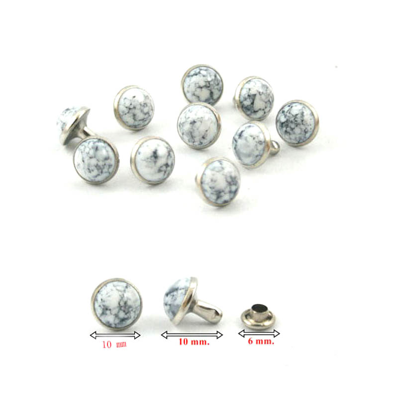 1000 Sets. White Turquoise Rapid Rivets Studs Decorations Findings 10 Mm