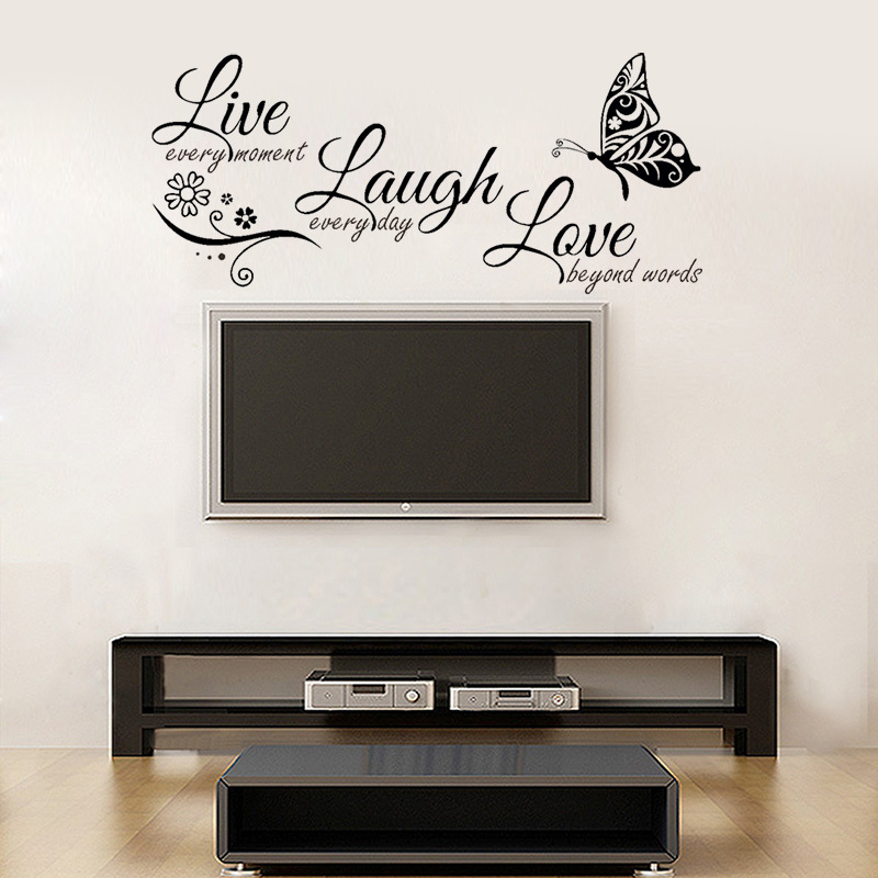 LOVE WALL ART QUOTE STICKER BUTTERFLY STICKER LAUGH REMOVABLE LIVE