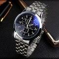YAZOLE Полный Стали Белый Черный Синий Циферблат Луч 30 м Водонепроницаемый светящиеся Стрелки Бизнес Платье Спорт Наручные часы Часы для Мужчин мужской