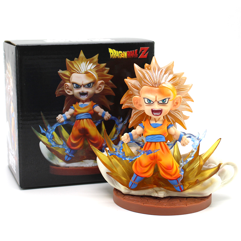 Dragon Ball Z Super Saiyan Son Goku Q Version PVC Figure Collectible Model Toy 13.5cm anime figure 32cm dragon ball z super saiyan son goku lunar new year color limited ver pvc action figure collectible model toy
