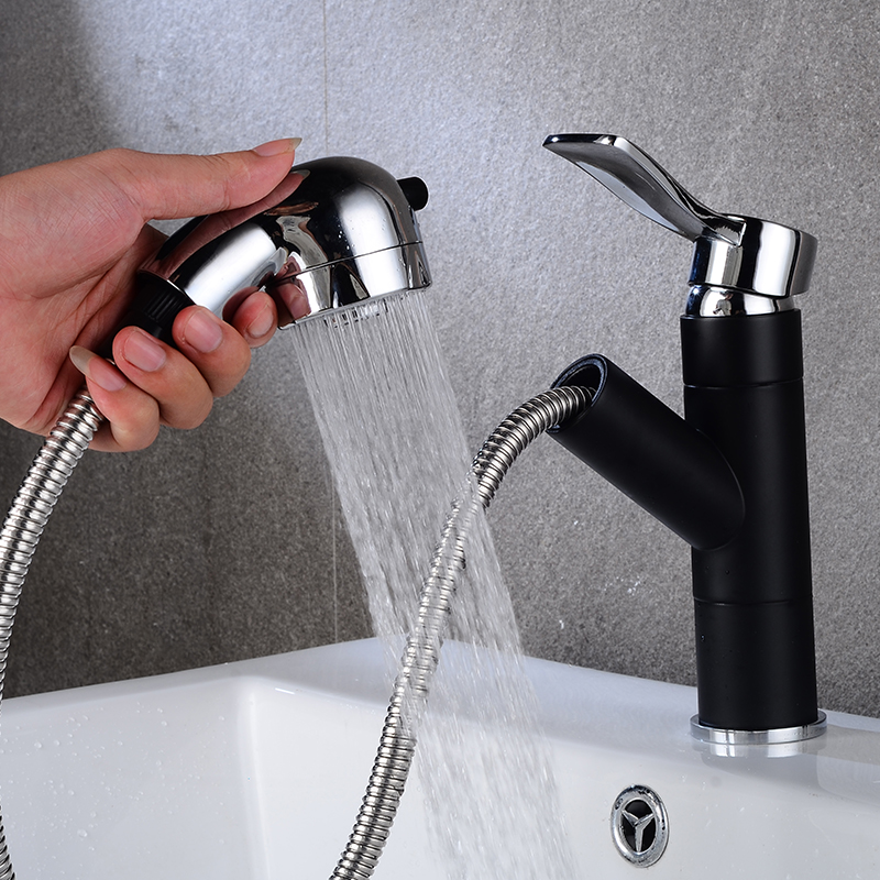Free Shipping New arrival pull out basin faucet chrome Black finished bathroom sink faucet with shower