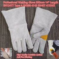 Welder S Cowhide High Temperature Resistance Wear Resistant Long Design Full Leather Welding Gloves Natural Gray