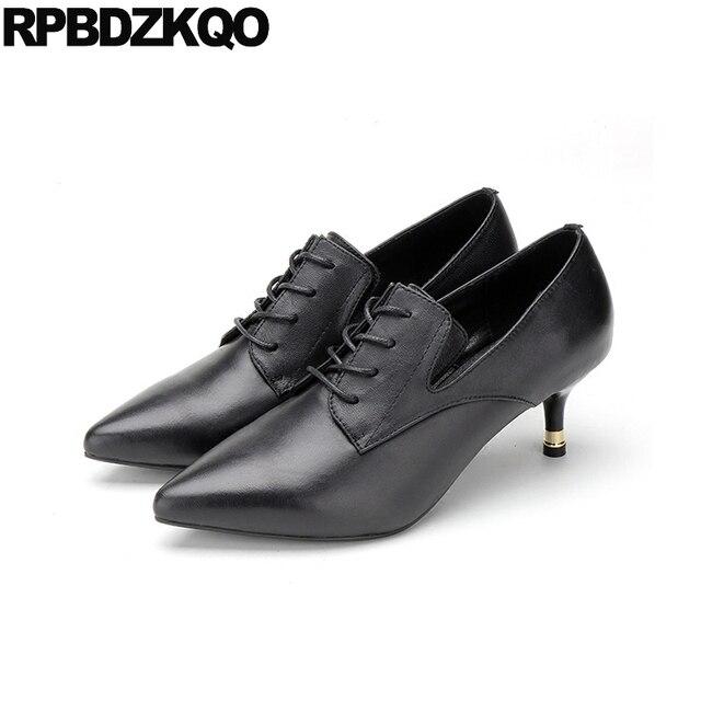 431dac587d55 Genuine Leather Oxford Pointed Toe Thin Medium Heels Black Ladies Formal  Shoes Cross Strap 2018 Women