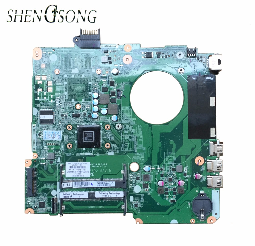 цены 734827-501 734827-001 Free Shipping FOR HP PAVILION TOUCHSMART 15T-N 15-N A6-5200M SERIES laptop motherboard DA0U93MB6D0 REV:D