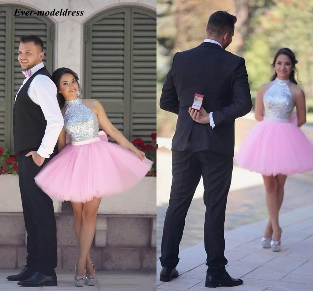 Pink Ball Gown Bridesmaid Dresses 2018 Mini Sequin Halter Backless Wedding Guest Maid of Honor Dress Gowns Cheap Custom Made