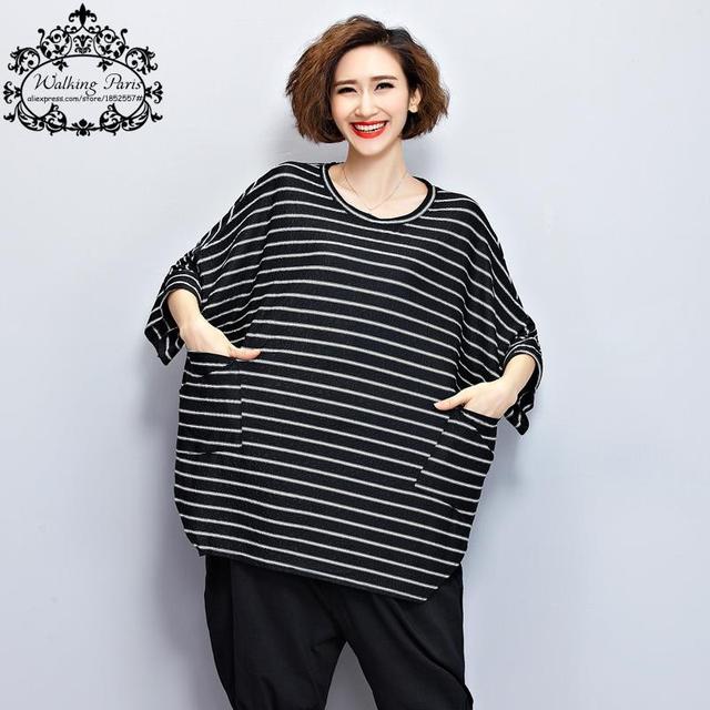 2016 Verano Camiseta de Las Mujeres de Gran Tamaño de Rayas Blanco y Negro imprimir Camiseta de La Manera Floja Del Batwing Superior Femenina Plus Size Con bolsillo