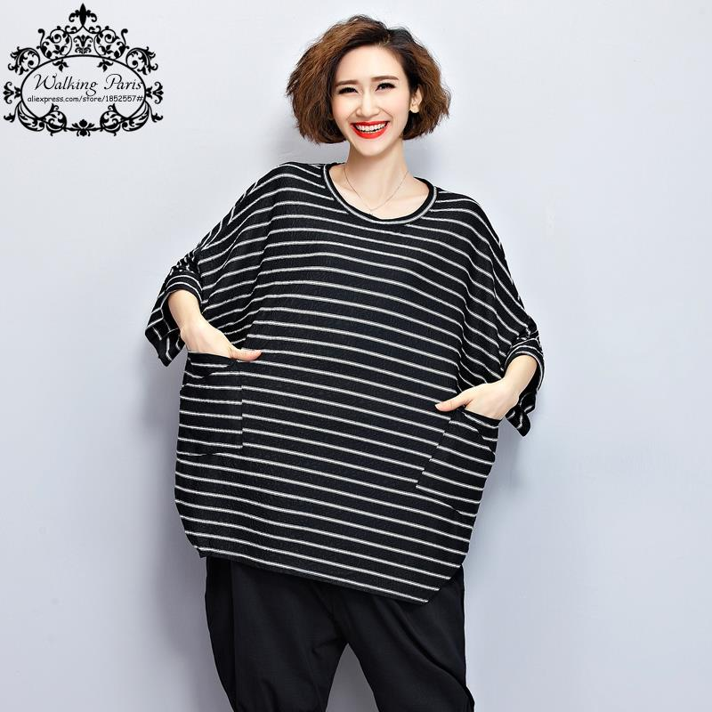 45007086 US $25.8 |2017 Summer Women T Shirt Big Size Black and White Striped Print  Tshirt Fashion Loose Batwing Female Tops Plus Size With Pocket-in T-Shirts  ...