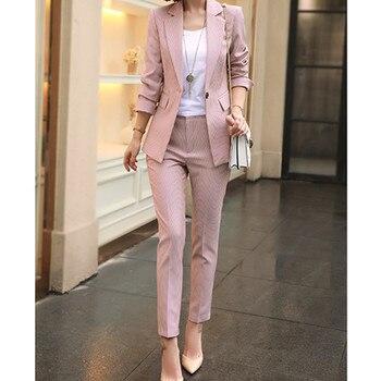 high quality Women Work Pink Pant Suits 2 Piece Set Women Single buckle Striped Blazer Jacket+Trouser Office Lady Suit
