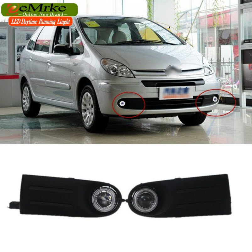 eeMrke Car-styling For Citroen Picasso 2 2006-2008 LED Angel Eyes DRL Fog Lights Daytime Running Lights 12V H11 55W eemrke for toyota vios yaris belta 2007 2013 led angel eye drl daytime running light halogen yellow h11 55w fog lights