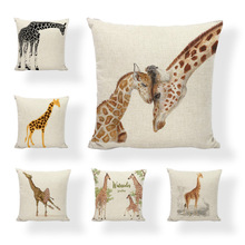 Sale Linen Pillow Cover Giraffe Growing Up Balloon Cushion Cover Home Sofa Office Bedroom Decorative Pillow Case 45x45 CM цены