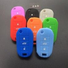Чехол для ключей ZAD с 3 кнопками, силиконовый флип-чехол с дистанционным управлением, держатель для ключей для Citroen C4, CACTUS C5, C3, C4L elysee, чехол для...