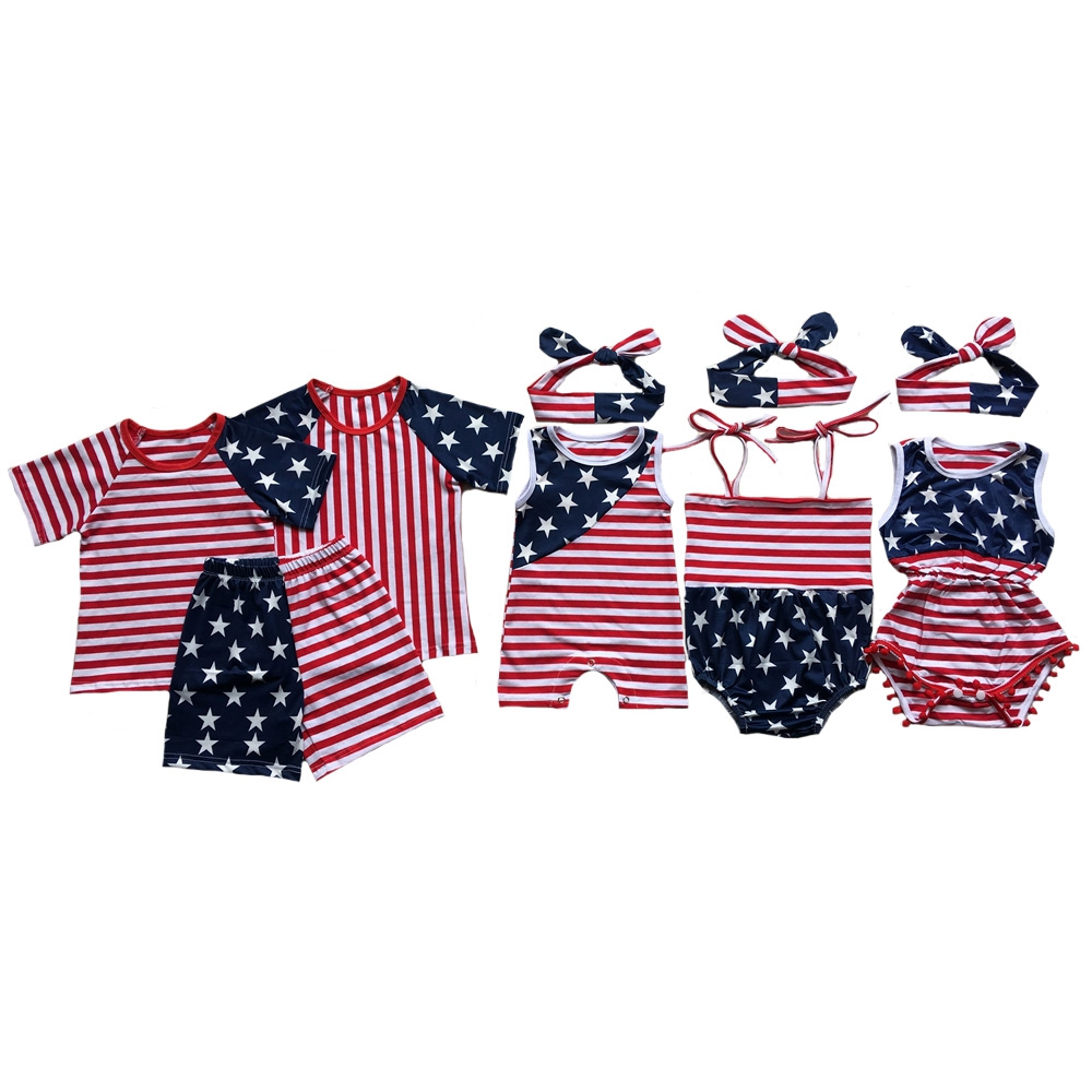 Wholesale Baby Boys Outfits American Flag Patriotic Girl Gowns Newborn Infant 4th Of July Rompers Baby Jumpersuits Girls Clothes