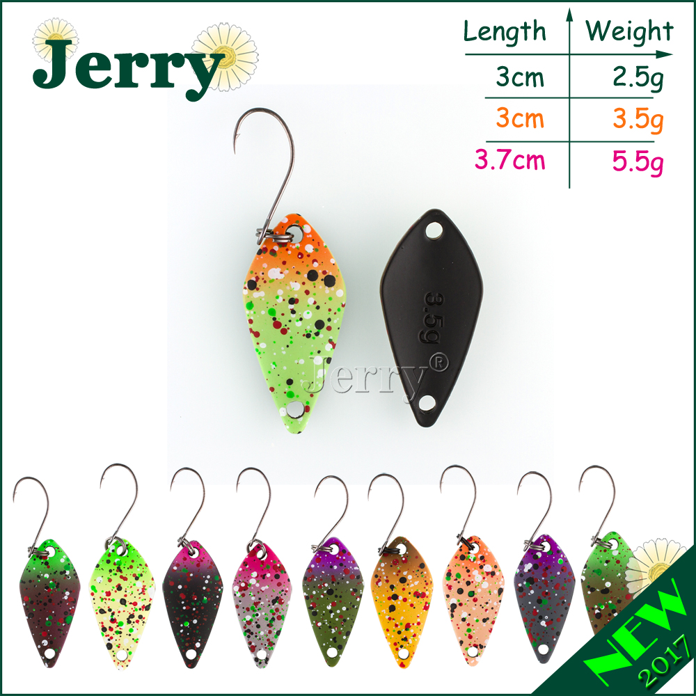 Jerry 2.5g 3.5g 5g small micro fishing spoons trout spoon lures fishing spinner bait two side color