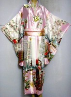 Free Shipping Pink Japanese Vintage Original Tradition Silk Yukata Kimono Dress With Obi One Size H0044