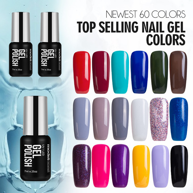 Modelones French Manicure Style Nail Gel Polish Clic Red Color Cure Uv L