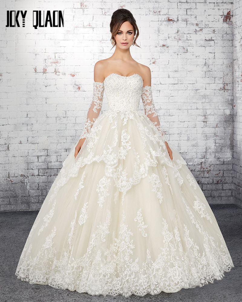 Vestido De Noiva Princesa 2019 Appliques Beading Sequins Princess Ball Gown Wedding Dresses With Removable Sleeve Plus Size