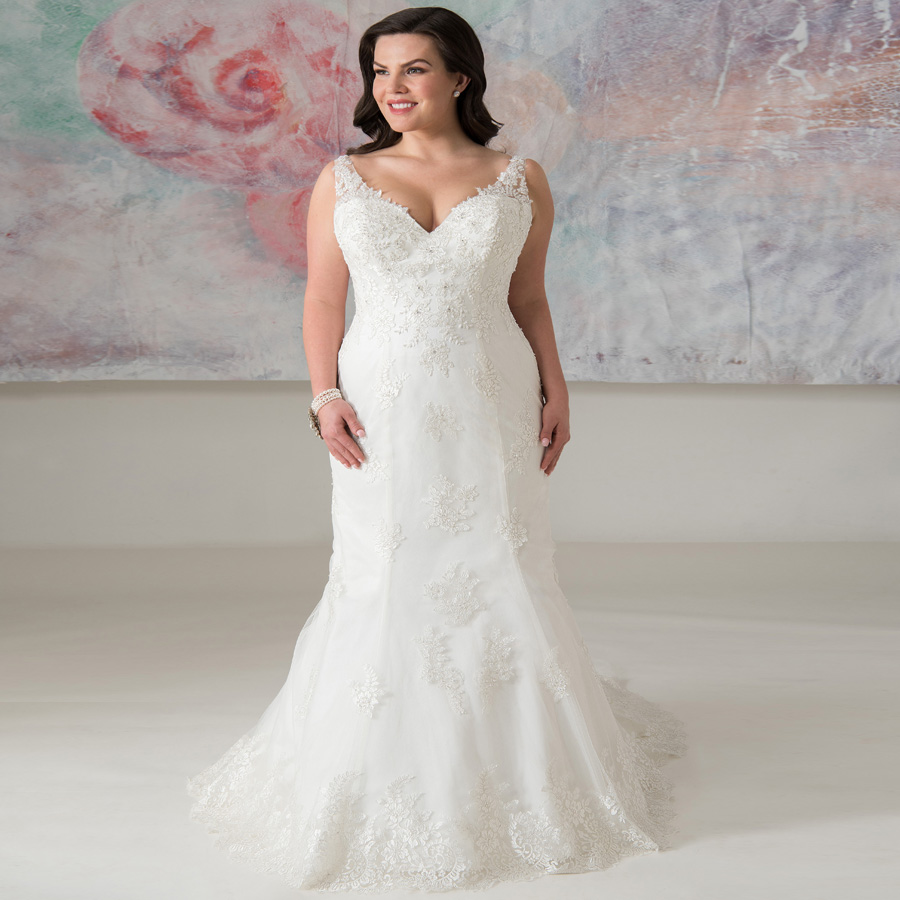 ADLN Elegant Plus Size V neck Wedding Dresses Mermaid Vestidos De Novia Cap Sleeve Beading Tulle