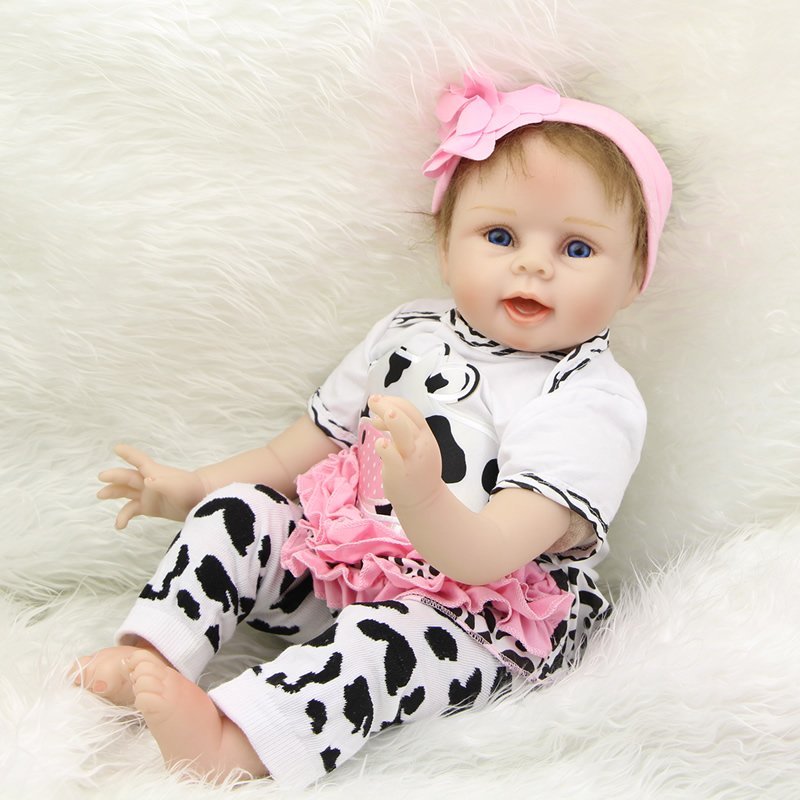 Silicone Reborn Dolls Girl Handmade Realistic Baby Doll 22 Inch With Blue Eyes Wearing White Milk Cow Set Birthday Xmas Gift handmade 22 inch newborn baby girl doll lifelike reborn silicone baby dolls wearing pink dress kids birthday xmas gift