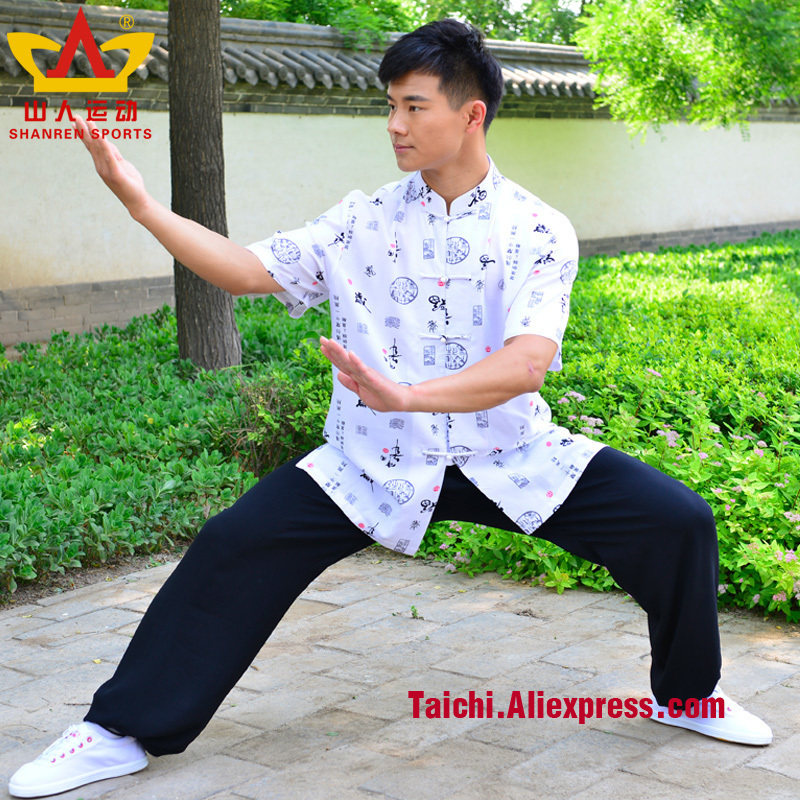 Cotten And Flax Men Tai Chi Clothes Short Sleeve  Martial Art Uniform Chinese Clothing